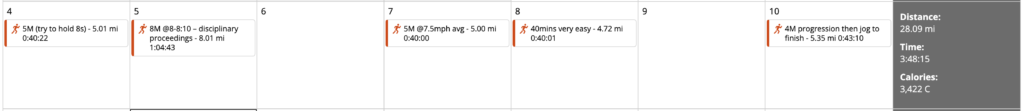 quite the unexpected week of mileage – almost normal!
